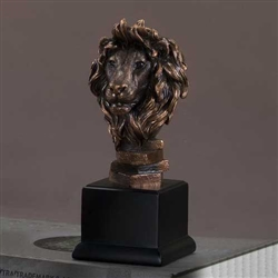 "10"" Bronze Finished Lion Head Statue - Sculpture"
