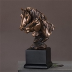 "9.5"" Double Horse Head Statue - Bronzed Horse Sculpture"