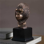 "9"" Bronze Finished Gorilla Statue - Figurine"