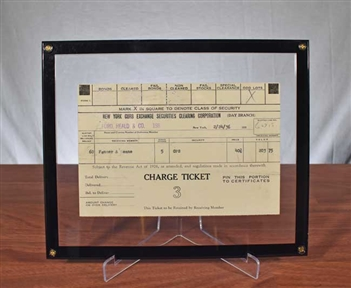 1936 New York Curb Exchange Charge Ticket - Rare