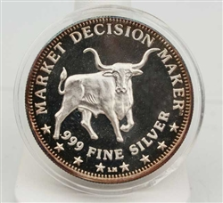 Stock Market Decision Maker Bull & Bear Coin - .999 Silver