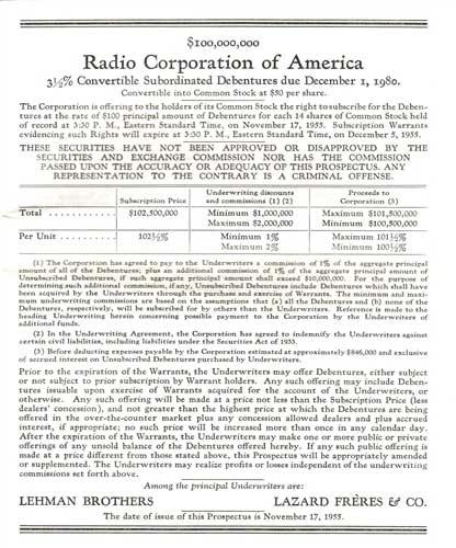 1955 Rca Corp Ipo Bond Prospectus