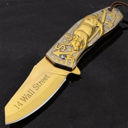 Gold Stock Market Bull Spring Assisted Knife