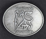 Vintage Merrill Lynch Bull Belt Buckle - Pewter