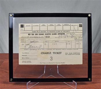 1936 New York Curb Exchange Charge Ticket - Fenner & Beane