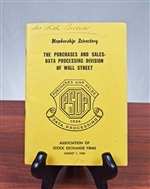 1968 Association of Stock Exchange Firms Member Directory