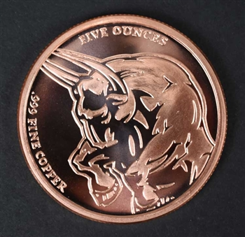 Copper Bull & Bear Medallion - 5 Oz .999 Copper