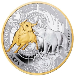 ".999 Silver ""Winner Takes All"" Bull and Bear Coin"