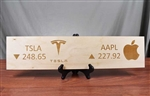 Tesla & Apple Ticker Wood Sign