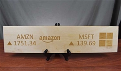 Amazon and Microsoft Ticker Wood Sign