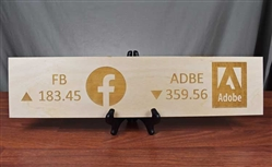 Facebook and Adobe Ticker Wood Sign