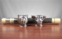 Vintage Pewter Bull & Bear Stock Certificate Holder