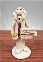 Stockbroker Figurine w Wall Street Journal