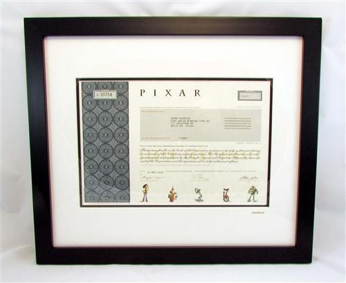 Framed Pixar Stock Certificate - Steve Jobs