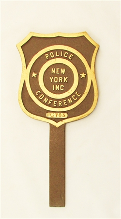 Brass New York Police Badge Sign