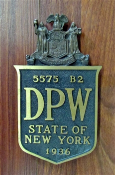 1936 Brass State of New York DPW Sign