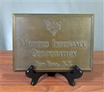 Motor Insurance Corp New York Brass Sign