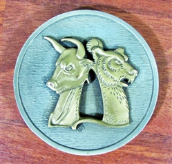 Solid Brass Bull and Bear Paperweight