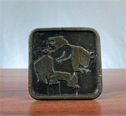 Vintage Brass Bull & Bear Belt Buckle