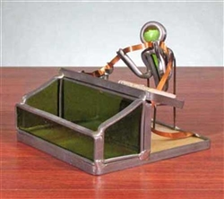 Stained Glass Stock Broker Business Card Holder