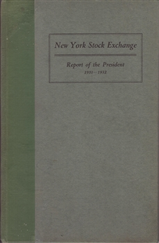 1931 New York Stock Exchange (NYSE) Report of the President