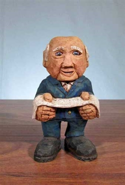 Hand-Carved Wooden Stock Broker Figurine