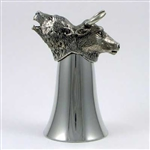 Pewter Bull and Bear Stirrup Cup - Jigger