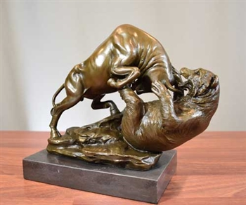 Bronze Fighting Bull and Bear Sculpture on Marble
