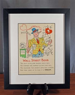 Framed Vintage Wall Street Boob Print Cartoon