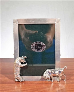 Pewter Bull and Bear Picture Frame - Vintage