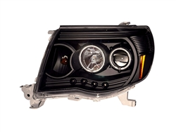 Black Headlight Set LED Projector with Halo (CCFL) For 2005-2011 Tacoma