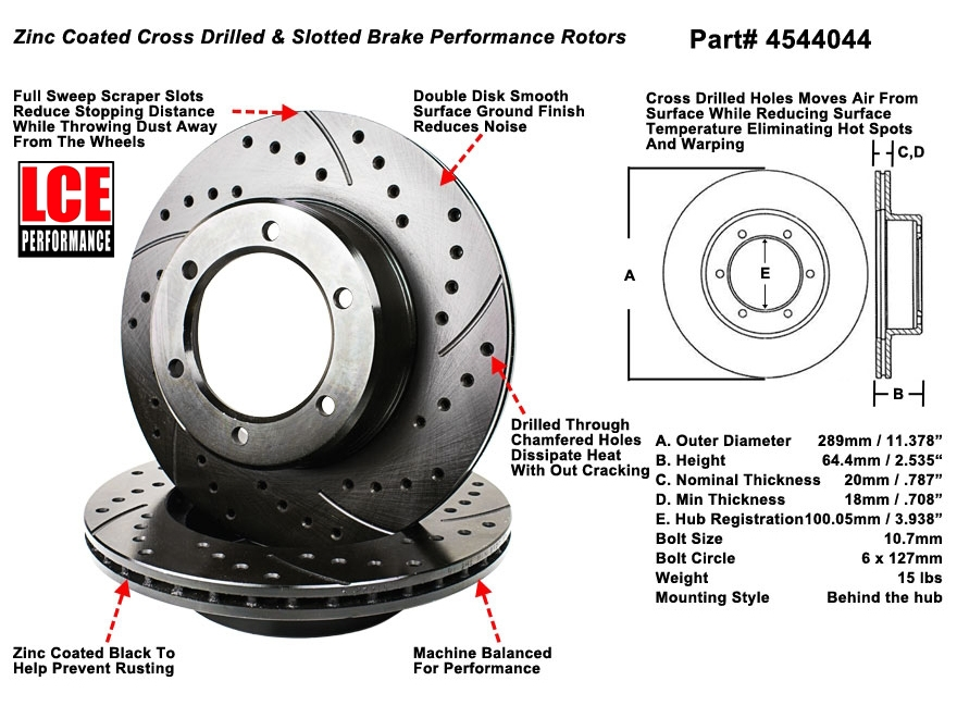 Cross Drilled Rotors >> Cross Drilled Slotted Rotors Ifs 4runner Pickup 3vz 22r Re Ret 6 Lug