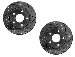Cross-Drilled Slotted Rotor 22R Pickup 1988 2WD 1 Ton Dual Rear Wheel 5 Lug Pair