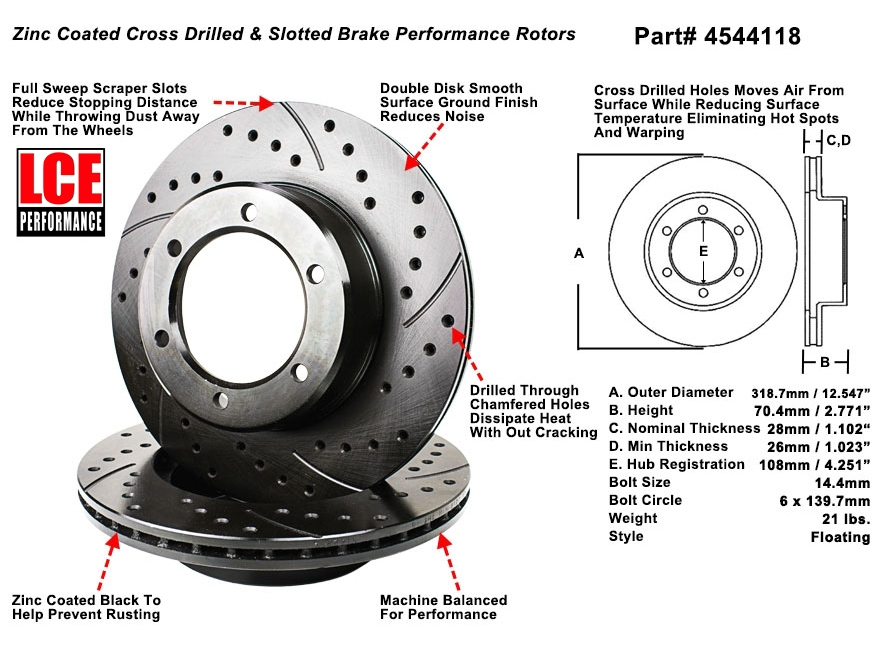 Cross Drilled Rotors >> Sequoia Front Cross Drilled Slotted Drilled Rotor All Engines 6 Lug