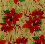 Red Gold Poinsettia Metallized Embossed