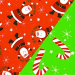 Canes And Santas Double Sided Embossed Gift Wrap