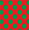 Classic Giant Green Dots On Red Foil Gift Wrap