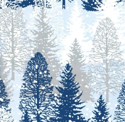 Blue Silver Snow Pine Trees Gift Wrap