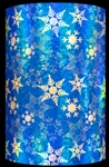 Geo Blue Snowflakes Holographic Embossed Gift Wrap