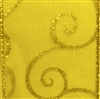 Swirl II Spring Moss Gold Wire-Edge Ribbon