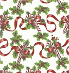 Red Ribbons And Canes Gift Wrap