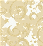 Gold Stars And Swirls Kraft Gift Wrap
