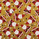 Dancing Santa Gold Design Gift Wrap