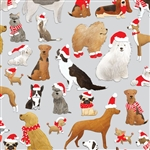 Santa's Helpers Metallic Silver Design Gift Wrap