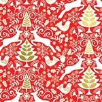 Red Scandanavian Metallic Wholesale Gift Wrap