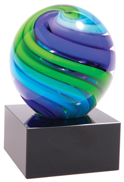 Blue Green Sphere Art Glass Award