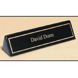 BLACK PIANO FINISH DESK PLATE - 2 LINES