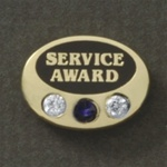 GEM OVAL AWARD PIN W/ 3 STONES