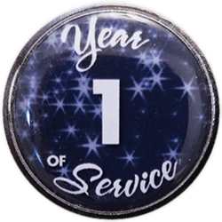 1 Year Silver and Blue Years of Service Pin