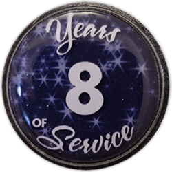 8 Years Silver and Blue Years of Service Pin